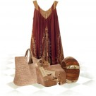 Fibroid dress - Bohemian style shift dress Chinese Laundry leather wedge Flora Bella beach tote bag GUESS tribal jewelry