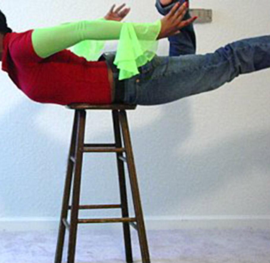 monica balancing on stool 2006