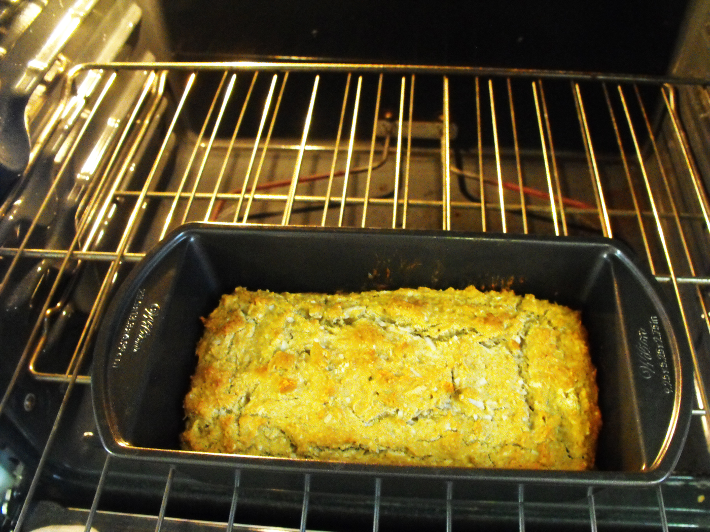 Fibroid friendly gluten free Coconut Sweet Bread in baking pan