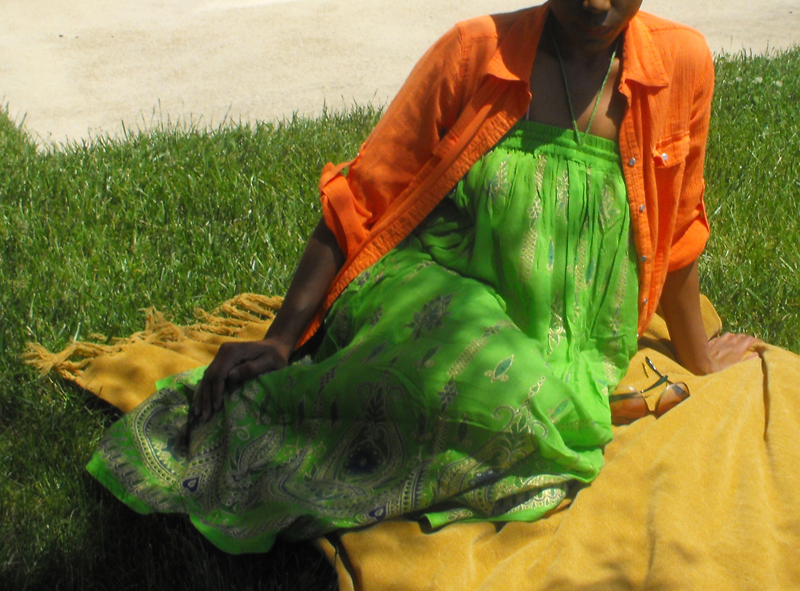 monica green bohemian skirt orange shirt Sunday may 25th 2014 1