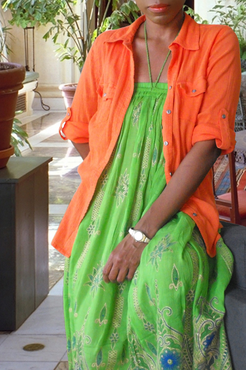 monica green bohemian skirt orange shirt Sunday may 25th 2014 2