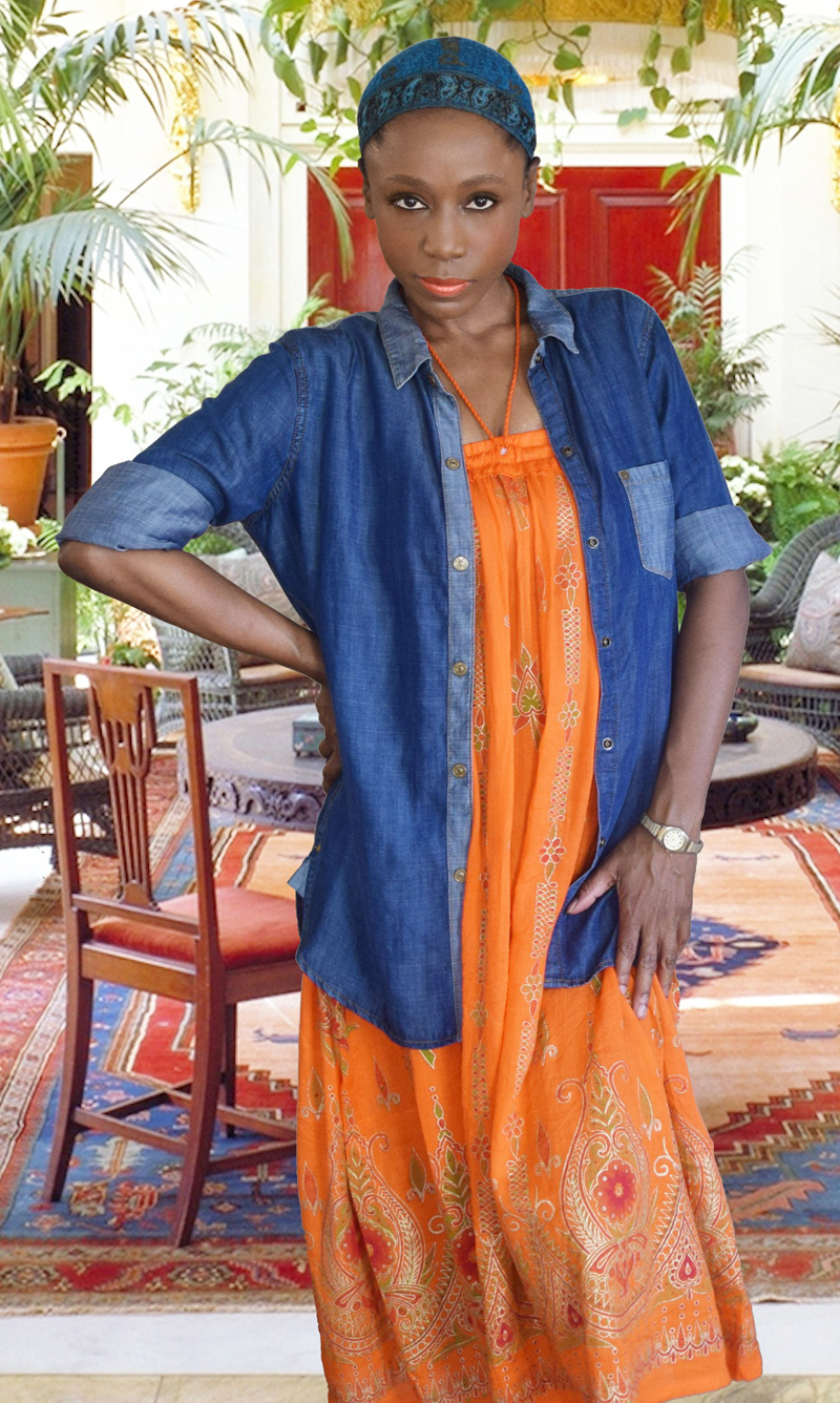 monica june 1 orange Bohemian skirt dress blue denim shirt 4 dn 800