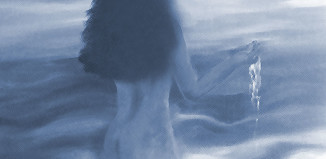 Digitally repainted crop from oil on canvas painting of nude lady bathing in the sea painted by Monica in 1999