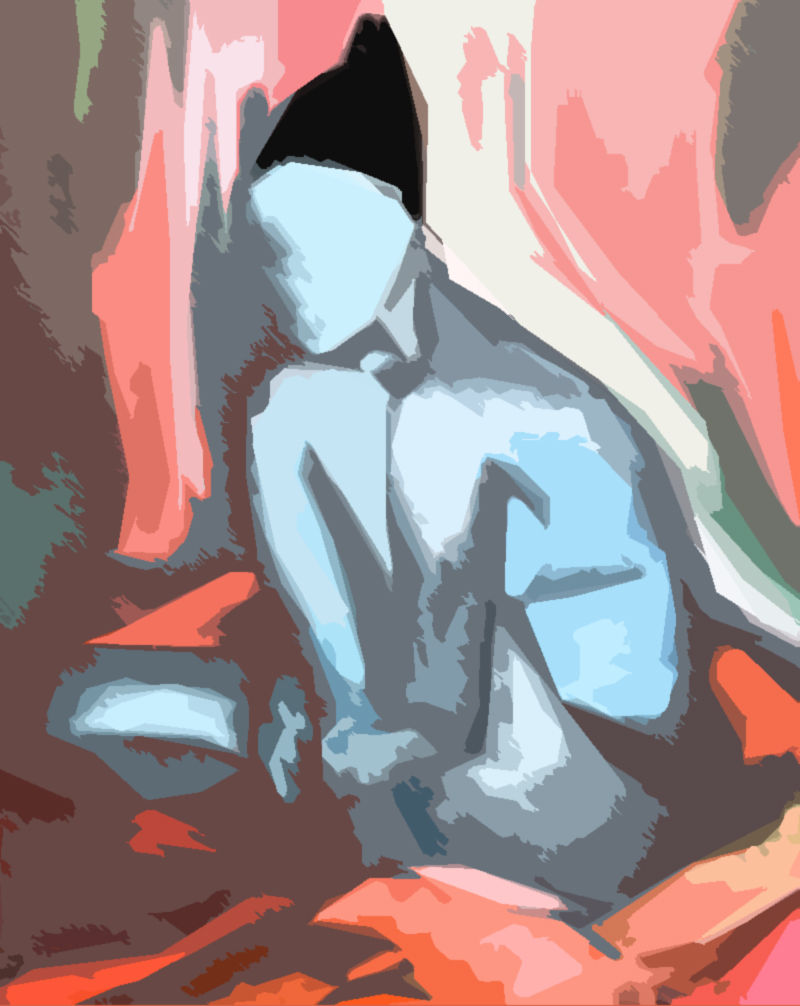 Digitized version of a 1999 painting done in oil on canvas my Monica titled Faceless