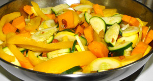 Butternut squash yellow squash zucchini yellow bell pepper prep for blended soup