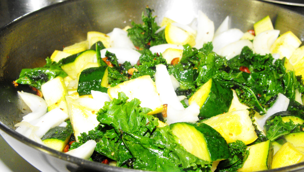 kale zucchini yellow squash prep for blended soup