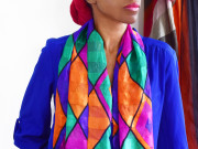 monica Wednesday January 27th 2016 blue blouse blue jeans the multi colored scarf cr