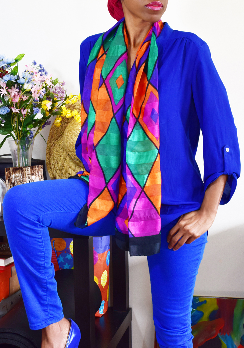 monica Wednesday January 27th 2016 blue blouse blue jeans the multi colored scarf