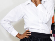 monica thursday morning January 21 2016 white shirt black skirt